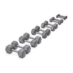 York Grey Cast Iron Hex Dumbbells