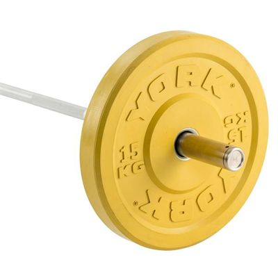 York Solid Rubber Bumper Olympic Coloured Weight Plates - 15kg
