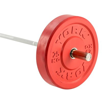 York Solid Rubber Bumper Olympic Coloured Weight Plates - 25kg