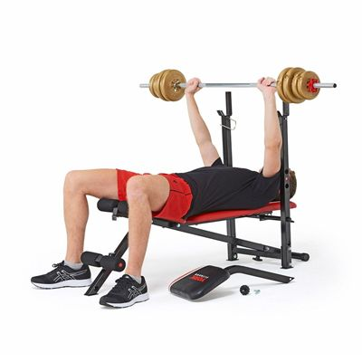 York Warrior 2 in 1 Folding Barbell and Ab Bench with Curl 6