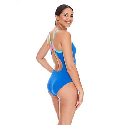 Zoggs Cannon Strikeback Ladies Swimsuit - Blue/Back