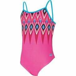 Zoggs Crazy Retro Cut Out Back Girls Swimsuit
