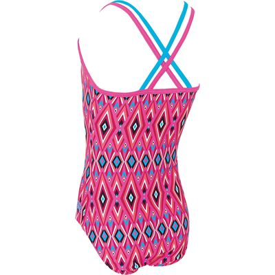 Zoggs Crazy Retro Double X Back Girls Swimsuit - Back