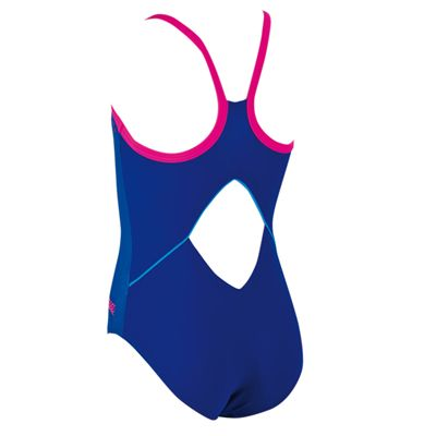 Zoggs Diamond Diva Cut Out Racerback Girls Swimsuit - Back