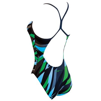 Zoggs Henley Flyback Ladies Swimsuit - back view