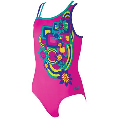 Zoggs Hippy Garden Crossback Girls Swimsuit-Front