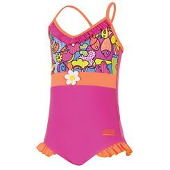 Zoggs Playtime Frill V Neck Girls Swimsuit