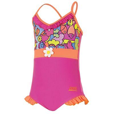 Zoggs Playtime Frill V Neck Infant Girls Swimsuit