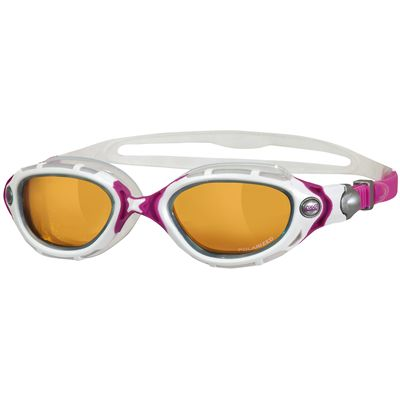Zoggs Predator Flex Womens Polarized Ultra Swimming Goggles-White and Pink