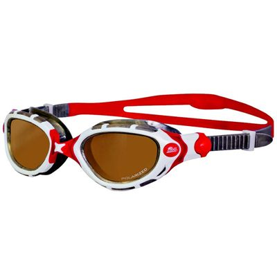 Zoggs Predator Flex Polarized Ultra Swimming Goggles - red and white