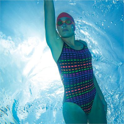 Zoggs Signature Check Sprintback Ladies Swimsuit - Lifestyle