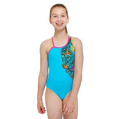 Zoggs Tribal Art Crossback Girls Swimsuit - Front