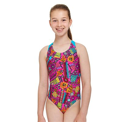 Zoggs Tribal Art Flyback Girls Swimsuit - Front