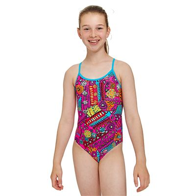 Zoggs Tribal Art Sprintback Girls Swimsuit - Front