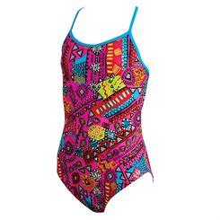 Zoggs Tribal Art Sprintback Girls Swimsuit